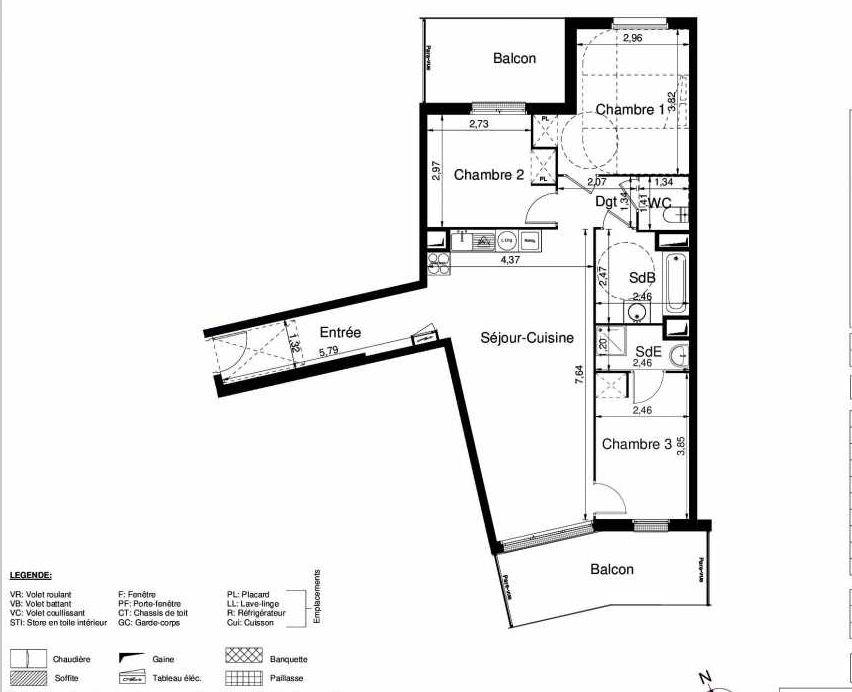 Plan 1501, appartement neuf type T4 au 5ème étage, orienté Sud faisant 80m² du programme neuf LES JARDINS D'ARGELIES BÂTIMENT 1 ET 2 à Juvisy-sur-Orge.