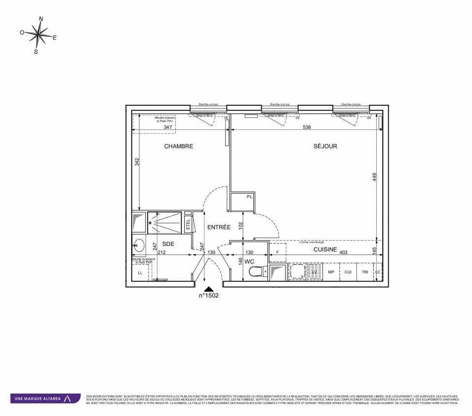 Plan 1502, appartement neuf type T2 au 5ème étage, orienté Ouest faisant 51m² du programme neuf 18 RUE CHARLES MARTIGNY à Maisons-Alfort.