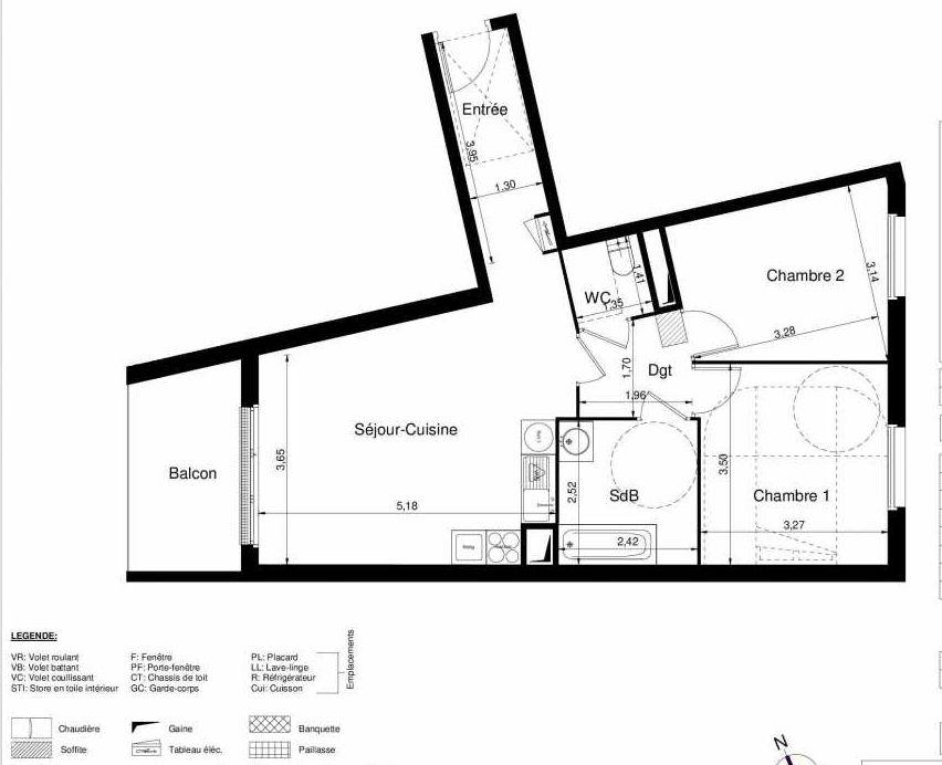 Plan 1503, appartement neuf type T3 au 5ème étage, orienté Ouest faisant 61m² du programme neuf LES JARDINS D'ARGELIES BÂTIMENT 1 ET 2 à Juvisy-sur-Orge.