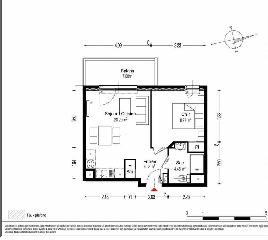 Plan 1503, appartement neuf type T2 au 5ème étage, orienté Ouest faisant 41m² du programme neuf O'LIVIA BAT A - 27 LOTS à Dijon.