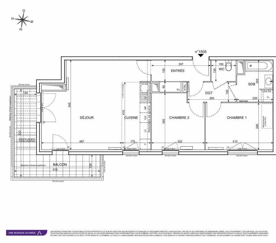 Plan 1505, appartement neuf type T3 au 5ème étage, orienté Sud faisant 71m² du programme neuf 18 RUE CHARLES MARTIGNY à Maisons-Alfort.