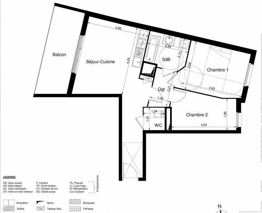 Plan 1508, appartement neuf type T3 au 5ème étage, orienté Ouest faisant 57m² du programme neuf LES JARDINS D'ARGELIES BÂTIMENT 1 ET 2 à Juvisy-sur-Orge.