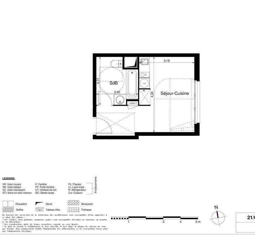 Plan 1509, appartement neuf type T1 au 5ème étage, orienté Est faisant 24m² du programme neuf LES JARDINS D'ARGELIES BÂTIMENT 1 ET 2 à Juvisy-sur-Orge.