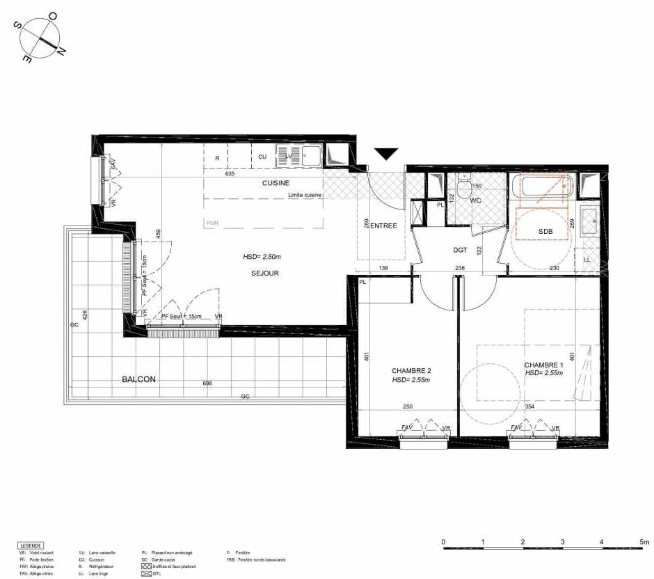 Plan 151, appartement neuf type T3 au 5ème étage, orienté Sud faisant 65m² du programme neuf LES JARDINS BALZAC BAT 3 à Argenteuil.