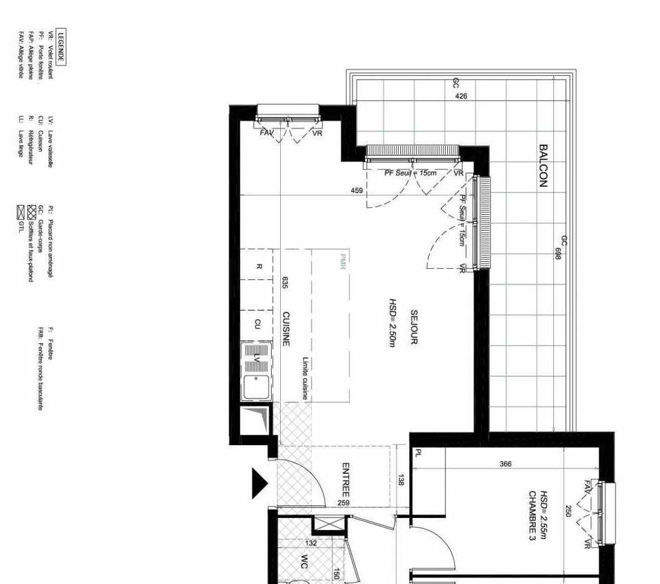 Plan 152, appartement neuf type T4 au 5ème étage, orienté Sud faisant 78m² du programme neuf LES JARDINS BALZAC BAT 3 à Argenteuil.