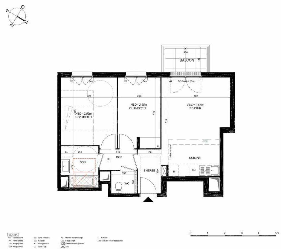 Plan 153, appartement neuf type T3 au 5ème étage, orienté Sud faisant 58m² du programme neuf LES JARDINS BALZAC BAT 3 à Argenteuil.