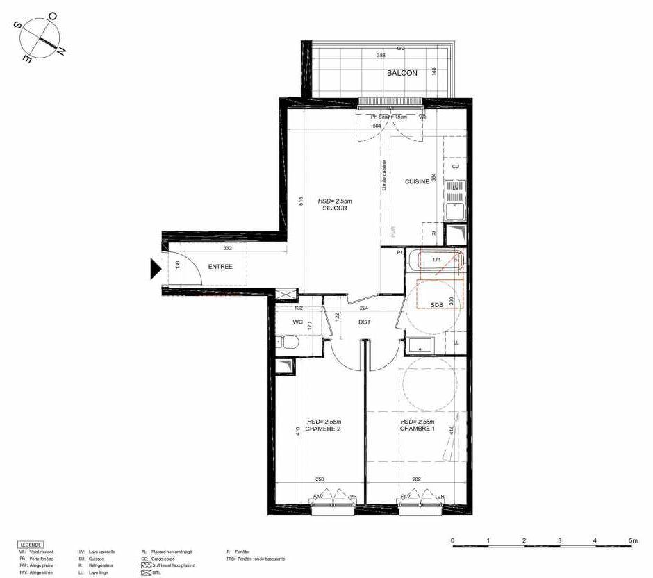 Plan 154, appartement neuf type T3 au 5ème étage, orienté Sud faisant 62m² du programme neuf LES JARDINS BALZAC BAT 3 à Argenteuil.