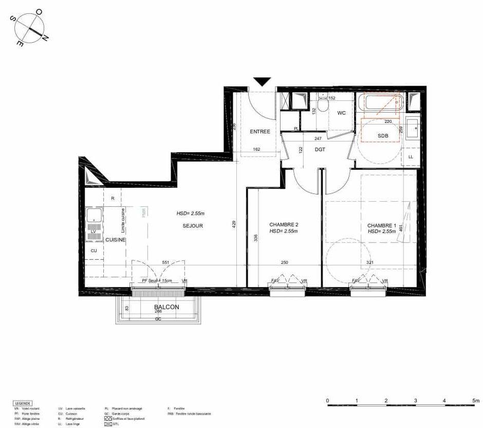 Plan 155, appartement neuf type T3 au 5ème étage, orienté Nord faisant 59m² du programme neuf LES JARDINS BALZAC BAT 3 à Argenteuil.