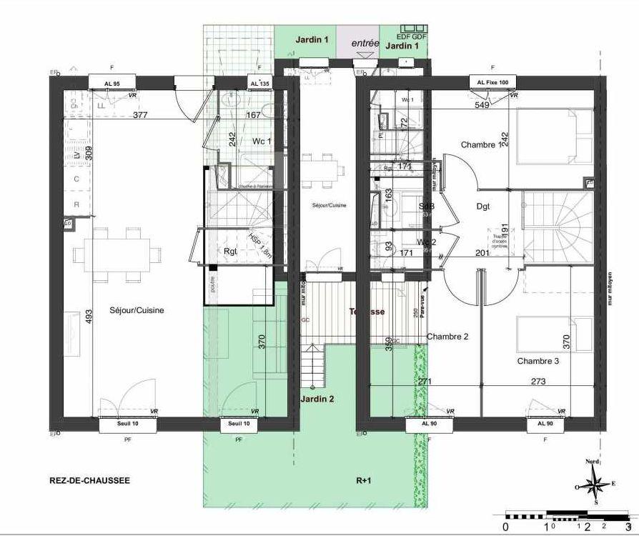 Plan 157, appartement neuf type T4 au Rez de chaussée, orienté Sud faisant 81m² du programme neuf LES JARDINS BELLIS TRANCHE 2 à Bourg-en-Bresse.