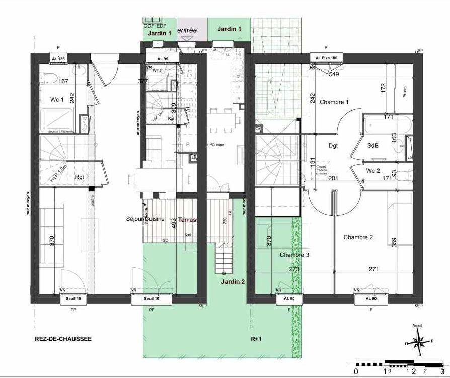 Plan 158, appartement neuf type T4 au Rez de chaussée, orienté Sud faisant 81m² du programme neuf LES JARDINS BELLIS TRANCHE 2 à Bourg-en-Bresse.