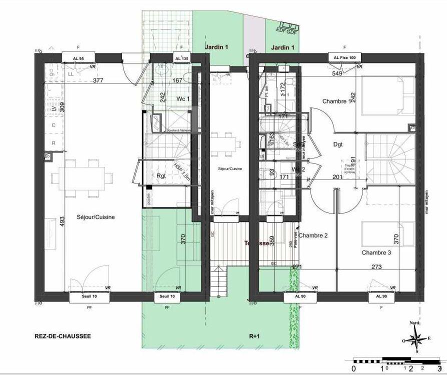 Plan 159, appartement neuf type T4 au Rez de chaussée, orienté Sud faisant 81m² du programme neuf LES JARDINS BELLIS TRANCHE 2 à Bourg-en-Bresse.