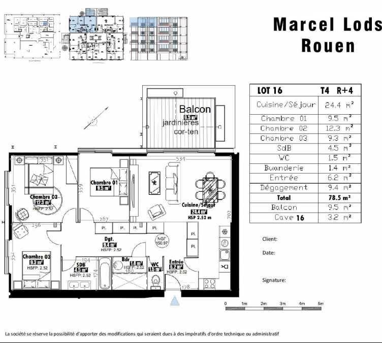 Plan 16, appartement neuf type T4 au 4ème étage, faisant 79m² du programme neuf 15 rue Jean-Philippe Rameau à Rouen.