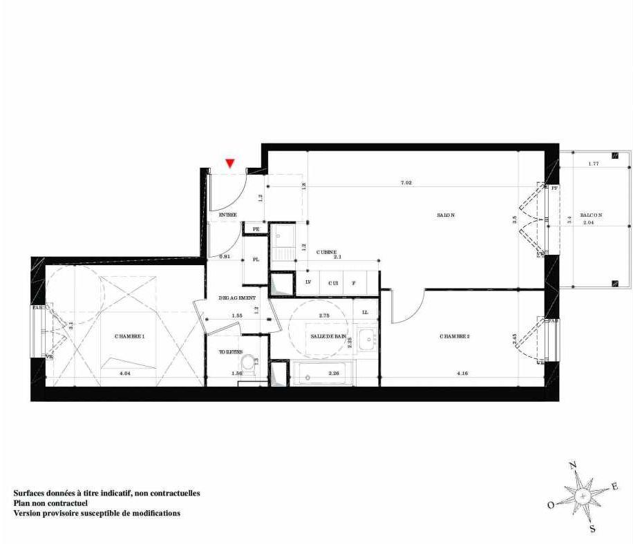 Plan 16, appartement neuf type T3 au 1er étage, orienté Sud faisant 61m² du programme neuf EN SCENE à Nancy.