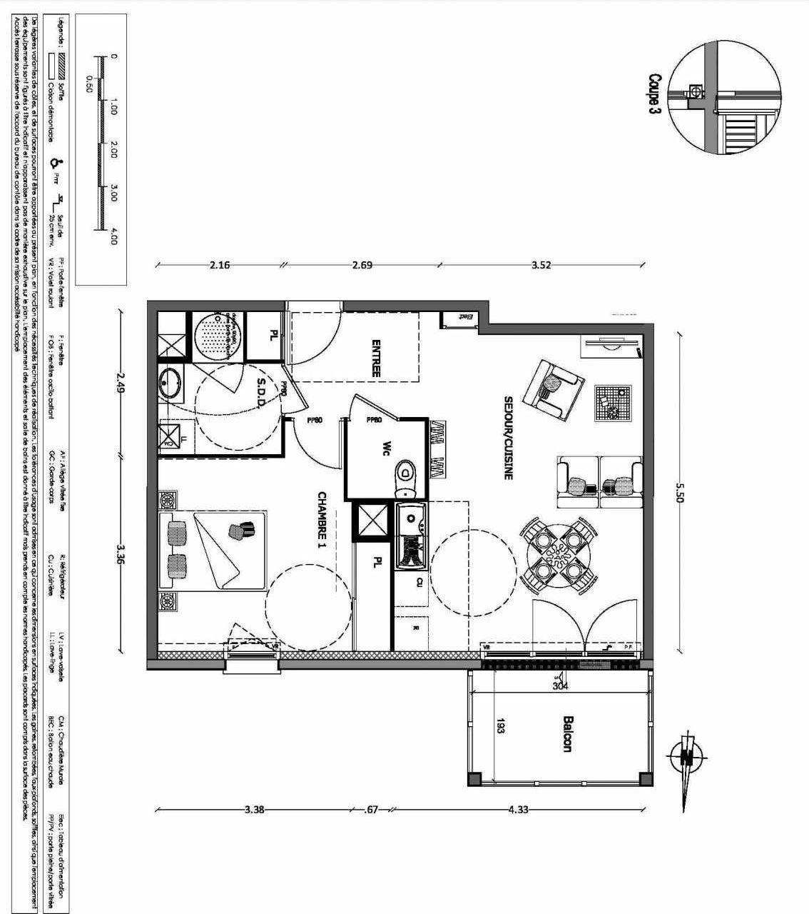 Plan 16, appartement neuf type T2 au 1er étage, orienté Nord faisant 47m² du programme neuf NOUVELLE VAGUE BATIMENT B - ACCESS 37 LOTS à Benerville-sur-Mer.