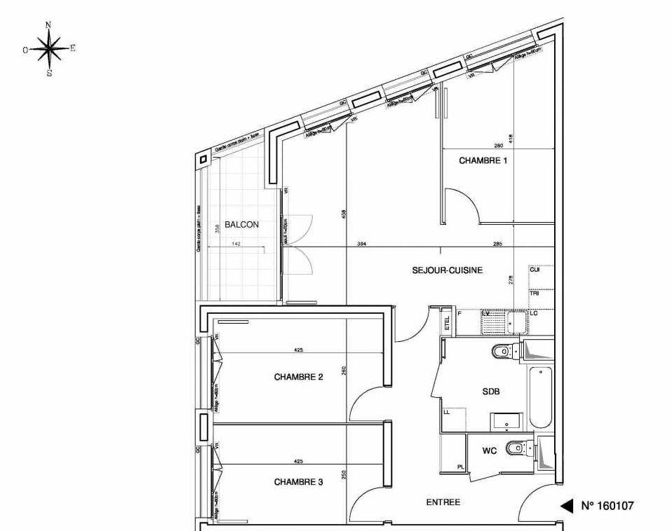 Plan 160107, appartement neuf type T4 au 1er étage, orienté Ouest faisant 78m² du programme neuf Cœur de ville {Hall Plaza} - Bobigny à Bobigny.