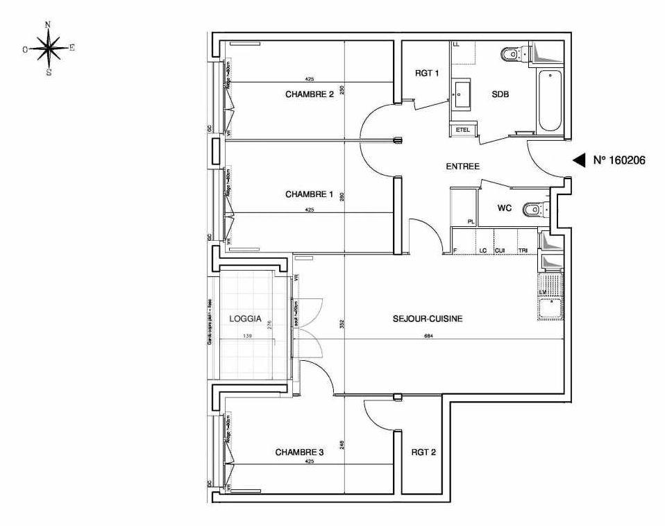 Plan 160206, appartement neuf type T4 au 2ème étage, orienté Ouest faisant 79m² du programme neuf Cœur de ville {Hall Plaza} - Bobigny à Bobigny.