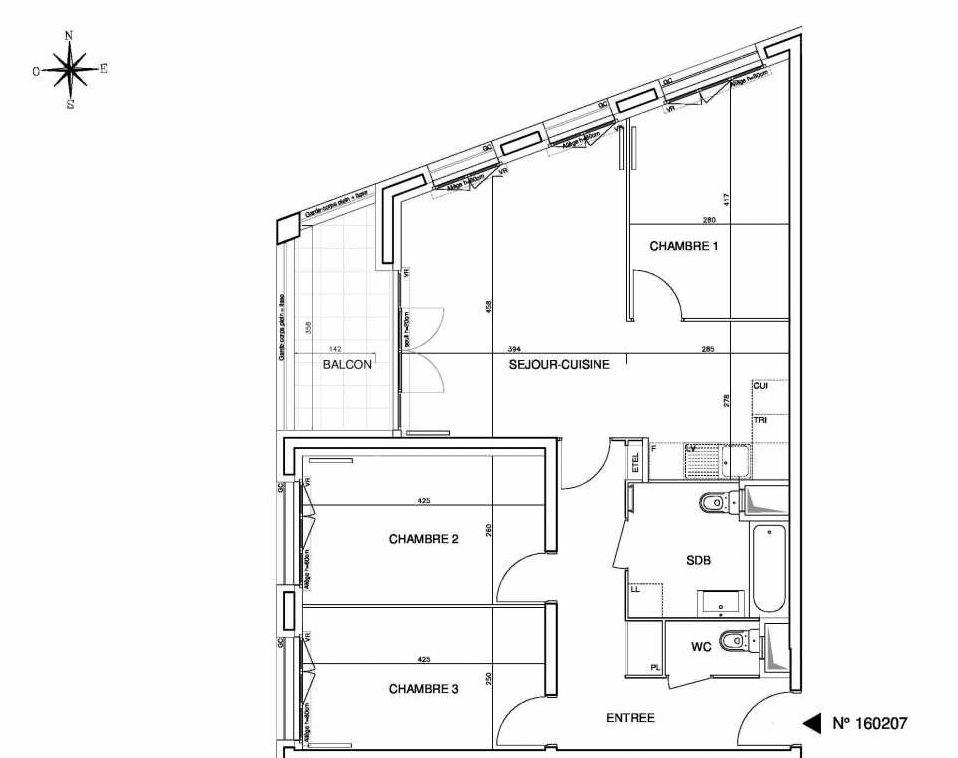 Plan 160207, appartement neuf type T4 au 2ème étage, orienté Ouest faisant 78m² du programme neuf Cœur de ville {Hall Plaza} - Bobigny à Bobigny.