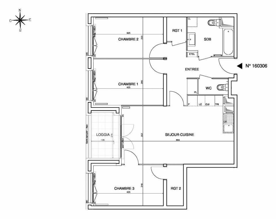 Plan 160306, appartement neuf type T4 au 3ème étage, orienté Ouest faisant 79m² du programme neuf Cœur de ville {Hall Plaza} - Bobigny à Bobigny.