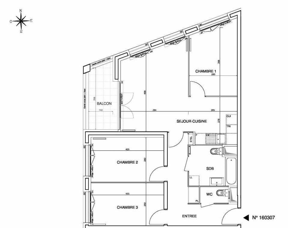 Plan 160307, appartement neuf type T4 au 3ème étage, orienté Ouest faisant 78m² du programme neuf Cœur de ville {Hall Plaza} - Bobigny à Bobigny.
