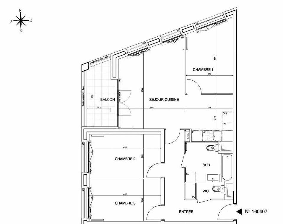 Plan 160407, appartement neuf type T4 au 4ème étage, orienté Ouest faisant 78m² du programme neuf Cœur de ville {Hall Plaza} - Bobigny à Bobigny.