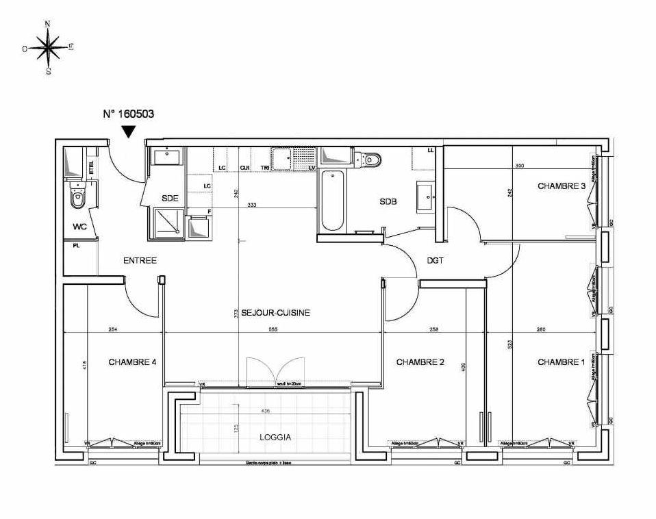 Plan 160503, appartement neuf type T5 au 5ème étage, orienté Sud faisant 92m² du programme neuf Cœur de ville {Hall Plaza} - Bobigny à Bobigny.