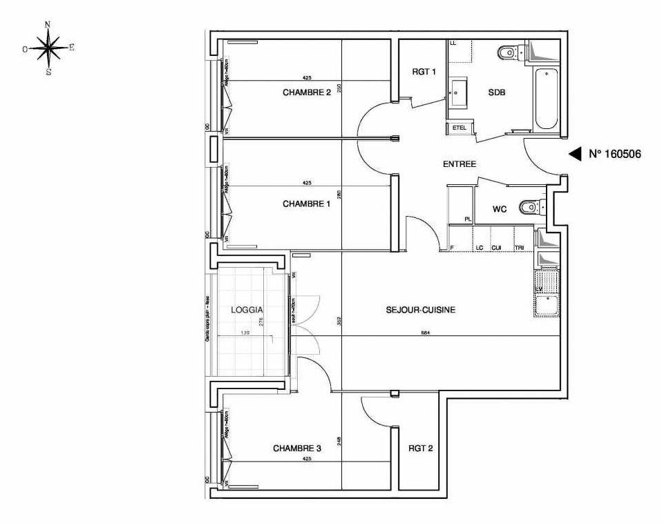 Plan 160506, appartement neuf type T4 au 5ème étage, orienté Ouest faisant 79m² du programme neuf Cœur de ville {Hall Plaza} - Bobigny à Bobigny.