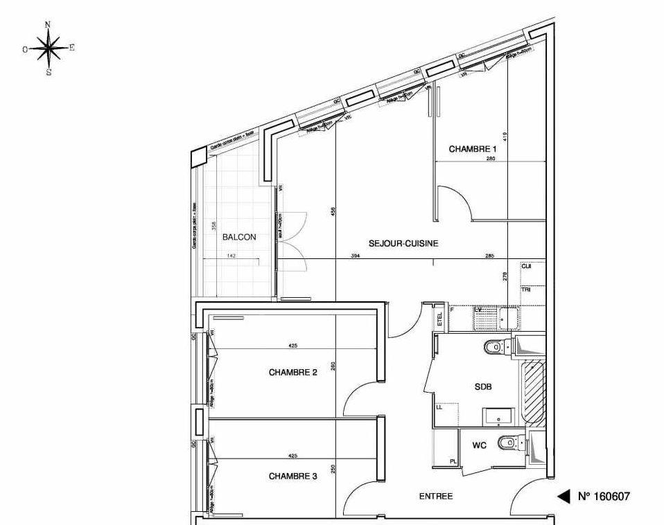 Plan 160607, appartement neuf type T4 au 6ème étage, orienté Ouest faisant 78m² du programme neuf Cœur de ville {Hall Plaza} - Bobigny à Bobigny.