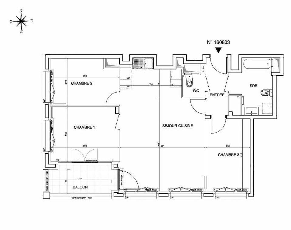 Plan 160803, appartement neuf type T4 au 8ème étage, orienté Sud faisant 80m² du programme neuf Cœur de ville {Hall Plaza} - Bobigny à Bobigny.