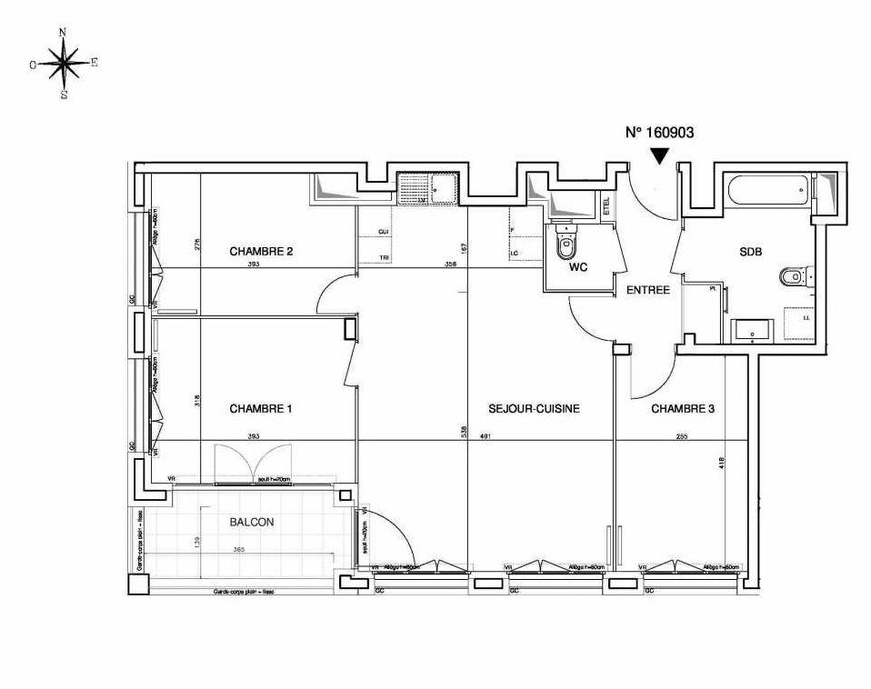 Plan 160903, appartement neuf type T4 au 9ème étage, orienté Sud faisant 80m² du programme neuf Cœur de ville {Hall Plaza} - Bobigny à Bobigny.