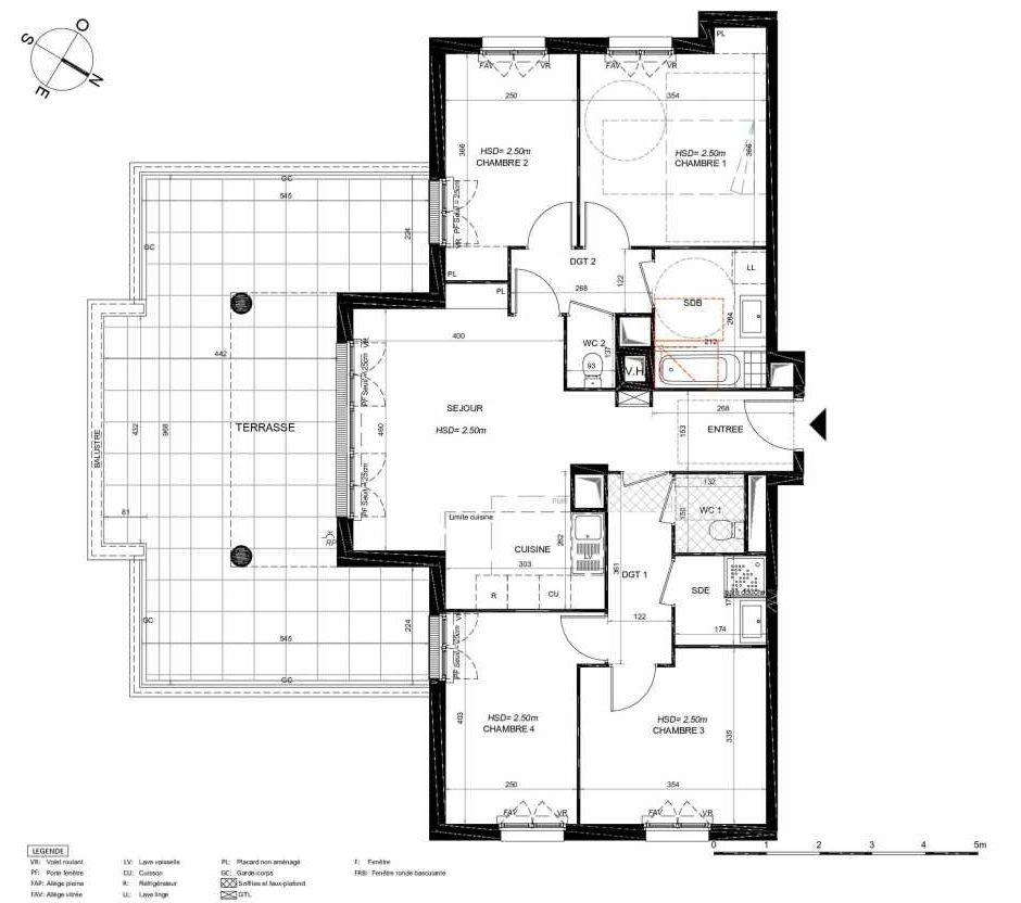 Plan 161, appartement neuf type T5 au 6ème étage, orienté Sud faisant 94m² du programme neuf LES JARDINS BALZAC BAT 3 à Argenteuil.