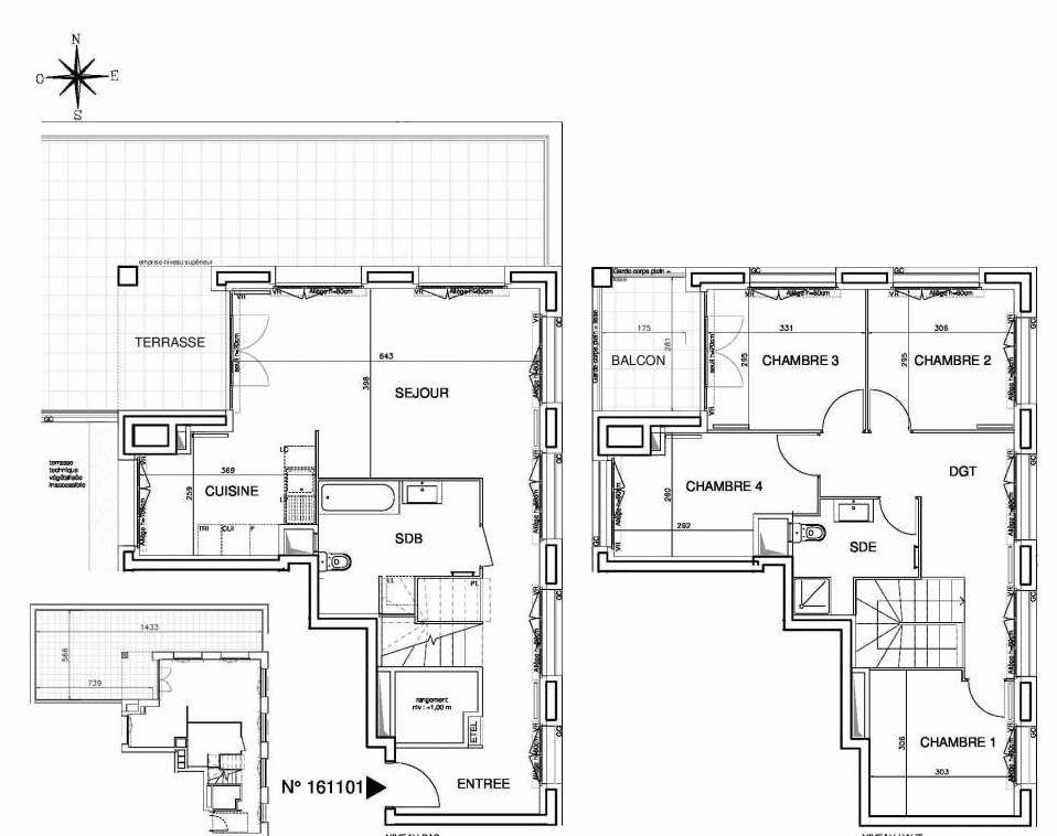 Plan 161101, appartement neuf type T5 au Rez de chaussée, orienté Ouest faisant 106m² du programme neuf Cœur de ville {Hall Plaza} - Bobigny à Bobigny.