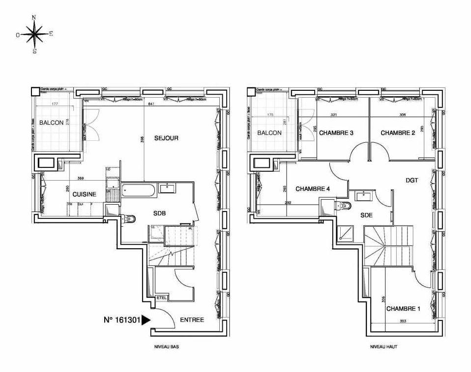 Plan 161301, appartement neuf type T5 au Rez de chaussée, orienté Ouest faisant 109m² du programme neuf Cœur de ville {Hall Plaza} - Bobigny à Bobigny.