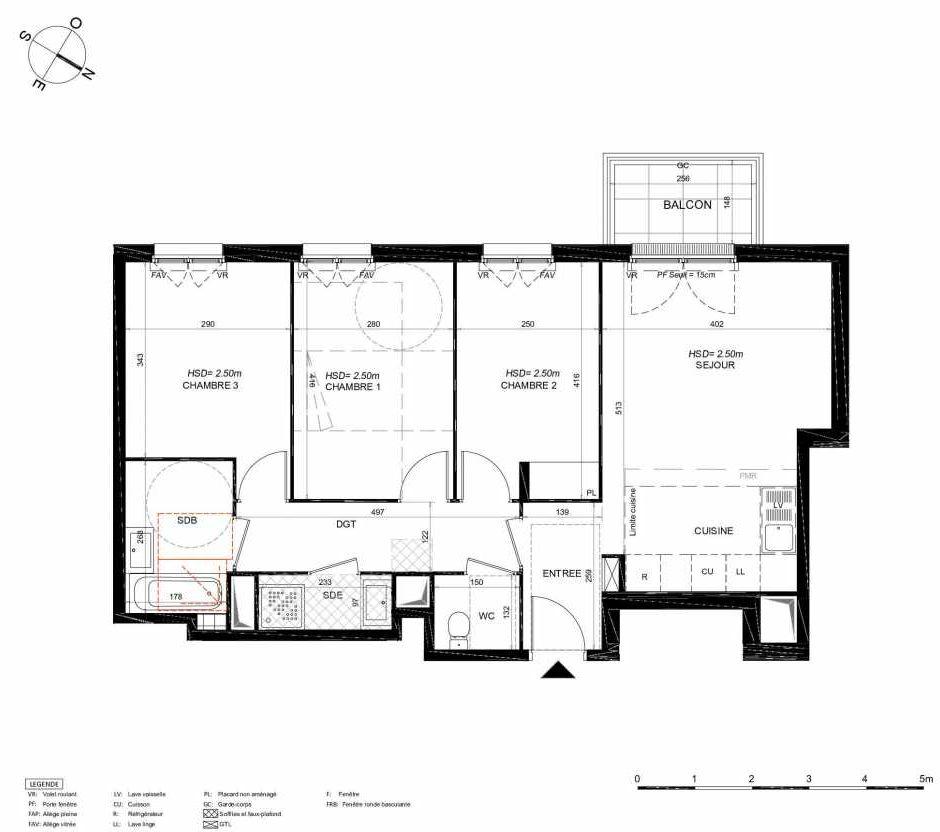 Plan 162, appartement neuf type T4 au 6ème étage, orienté Sud faisant 73m² du programme neuf LES JARDINS BALZAC BAT 3 à Argenteuil.