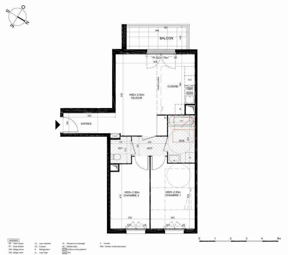 Plan 163, appartement neuf type T3 au 6ème étage, orienté Sud faisant 60m² du programme neuf LES JARDINS BALZAC BAT 3 à Argenteuil.
