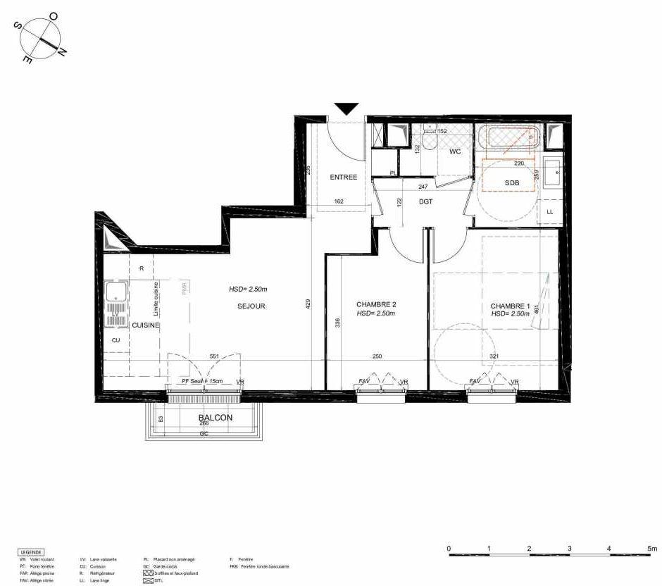 Plan 164, appartement neuf type T3 au 6ème étage, orienté Nord faisant 59m² du programme neuf LES JARDINS BALZAC BAT 3 à Argenteuil.