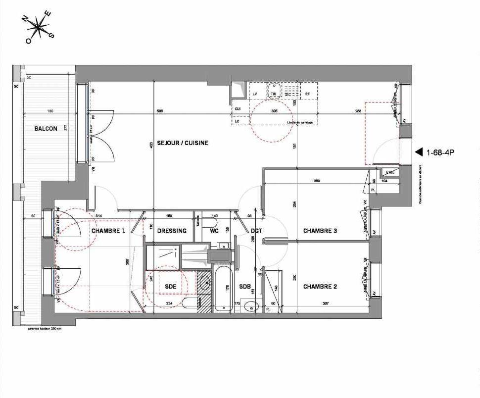 Plan 168-4P, appartement neuf type T4 au 6ème étage, orienté Nord faisant 86m² du programme neuf New G à Paris.