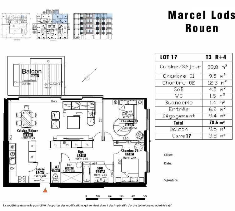Plan 17, appartement neuf type T3 au 4ème étage, faisant 79m² du programme neuf 15 rue Jean-Philippe Rameau à Rouen.