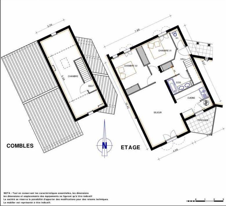 Plan 17, appartement neuf type T4 au 1er étage, orienté Sud faisant 87m² du programme neuf LES JARDINS D'ADELAIDE à Grimaud.
