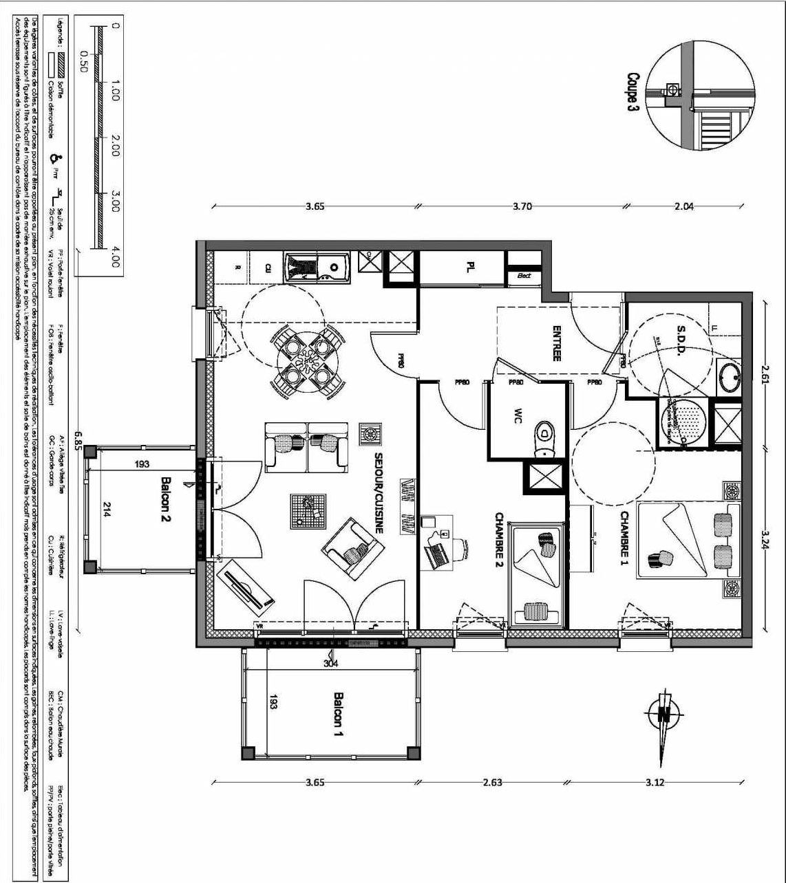 Plan 17, appartement neuf type T3 au 1er étage, orienté Nord faisant 58m² du programme neuf NOUVELLE VAGUE BATIMENT B - ACCESS 37 LOTS à Benerville-sur-Mer.