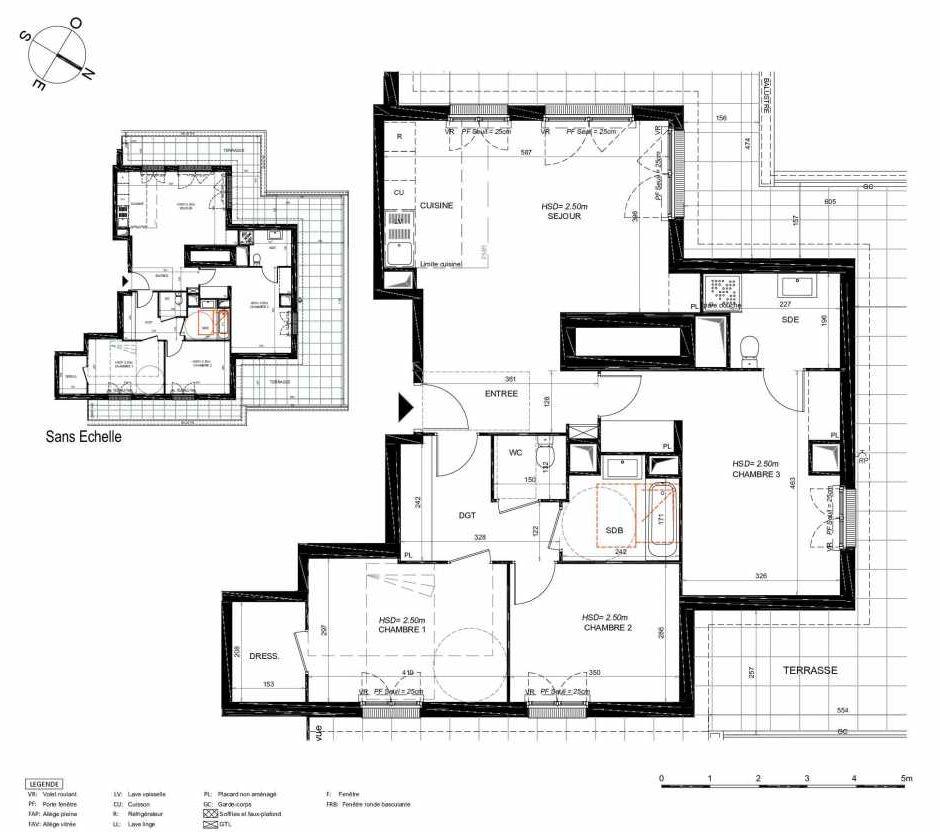 Plan 172, appartement neuf type T4 au 7ème étage, orienté Nord faisant 91m² du programme neuf LES JARDINS BALZAC BAT 3 à Argenteuil.