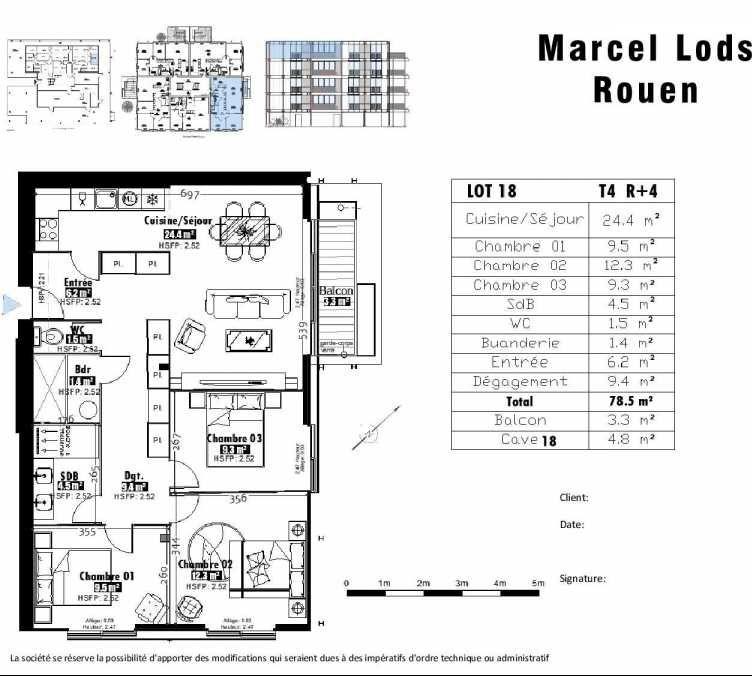 Plan 18, appartement neuf type T4 au 4ème étage, faisant 79m² du programme neuf 15 rue Jean-Philippe Rameau à Rouen.