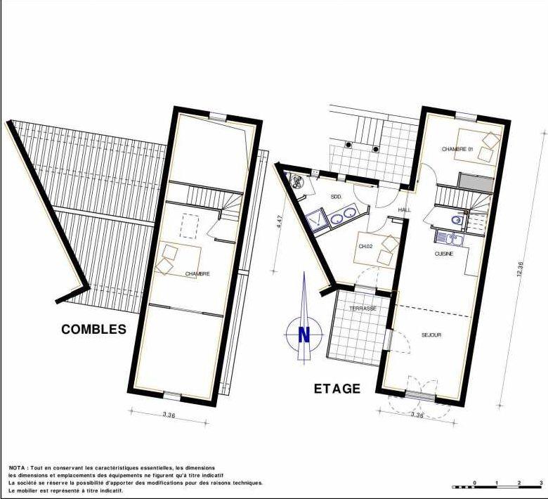 Plan 18, appartement neuf type T4 au 1er étage, orienté Sud faisant 71m² du programme neuf LES JARDINS D'ADELAIDE à Grimaud.