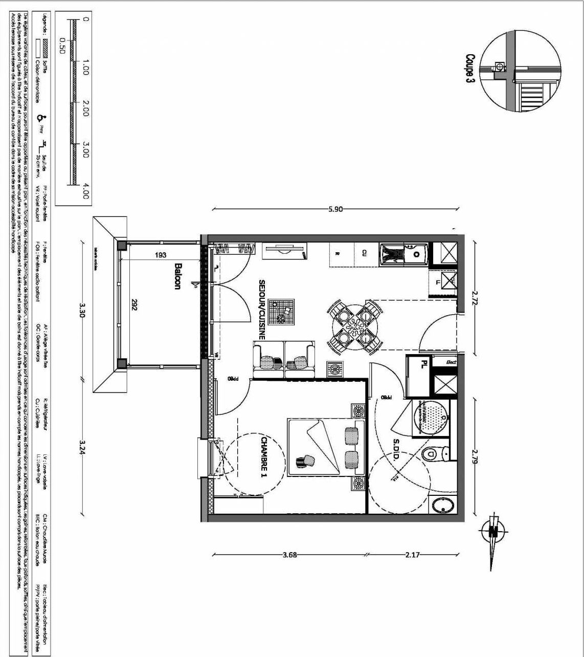 Plan 18, appartement neuf type T2 au 1er étage, orienté Nord faisant 37m² du programme neuf NOUVELLE VAGUE BATIMENT B - ACCESS 37 LOTS à Benerville-sur-Mer.
