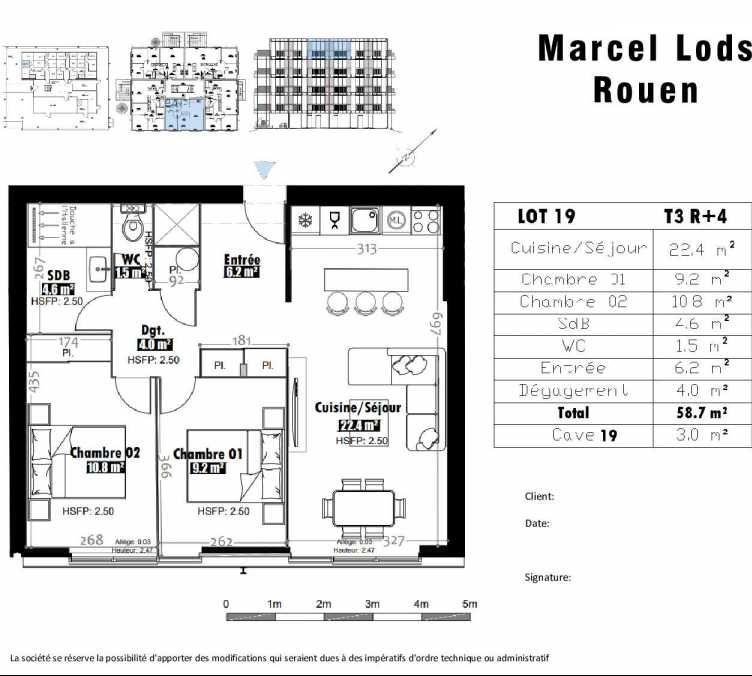 Plan 19, appartement neuf type T3 au 4ème étage, faisant 59m² du programme neuf 15 rue Jean-Philippe Rameau à Rouen.