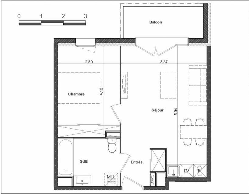 Plan 19, appartement neuf type T2 au 1er étage, faisant 40m² du programme neuf Le Clos Saint Pierre à Toulouse.