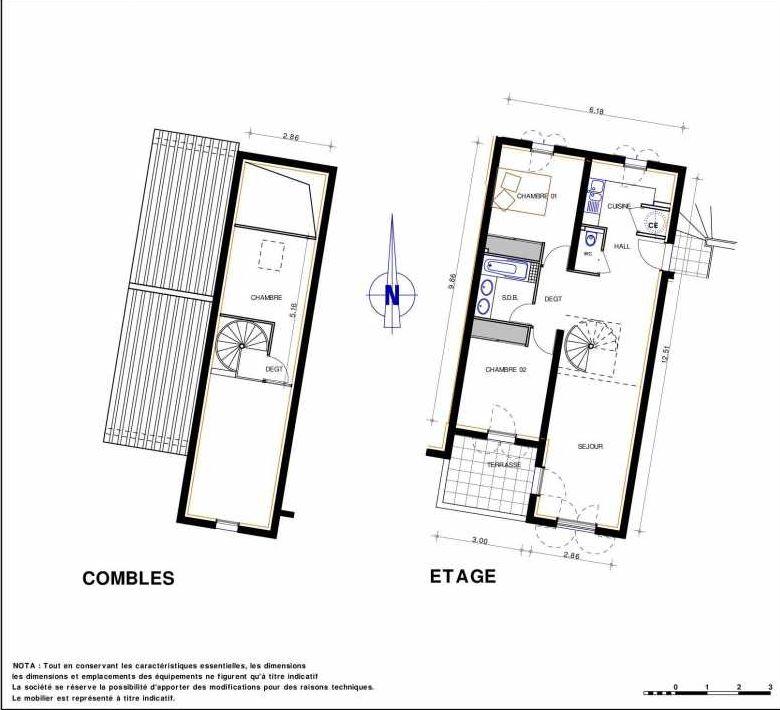 Plan 19, appartement neuf type T4 au 1er étage, orienté Sud faisant 78m² du programme neuf LES JARDINS D'ADELAIDE à Grimaud.