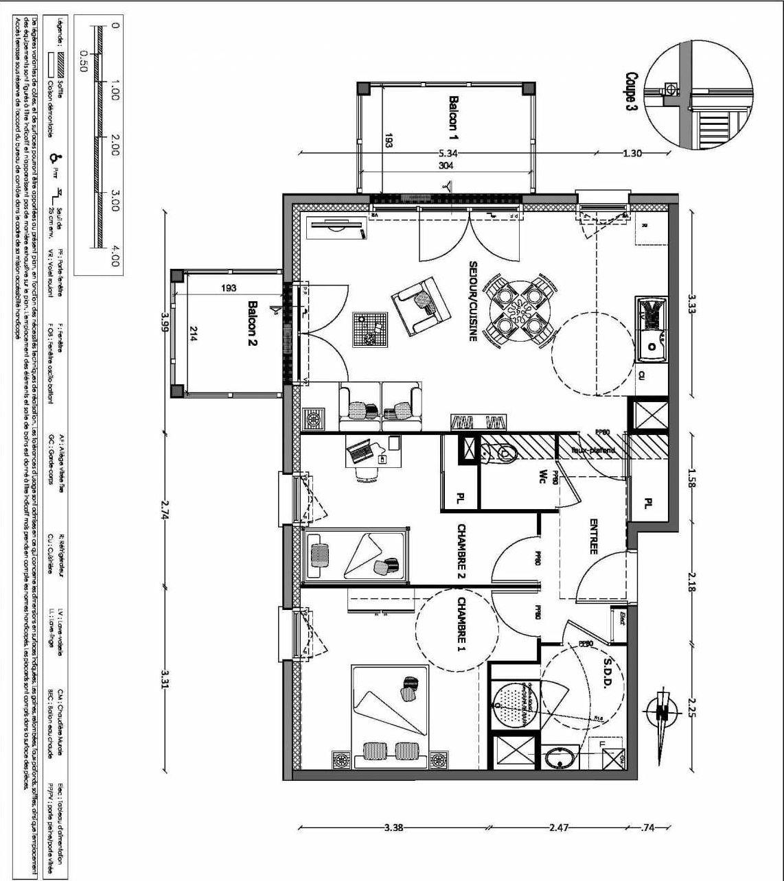 Plan 19, appartement neuf type T3 au 1er étage, orienté Sud faisant 61m² du programme neuf NOUVELLE VAGUE BATIMENT B - ACCESS 37 LOTS à Benerville-sur-Mer.