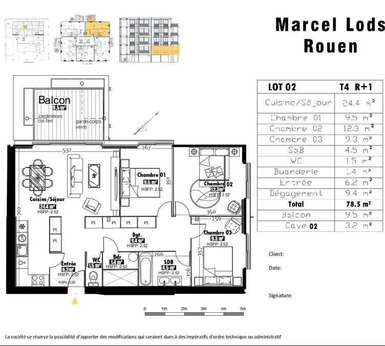 Plan 2, appartement neuf type T4 au 1er étage, faisant 79m² du programme neuf 15 rue Jean-Philippe Rameau à Rouen.