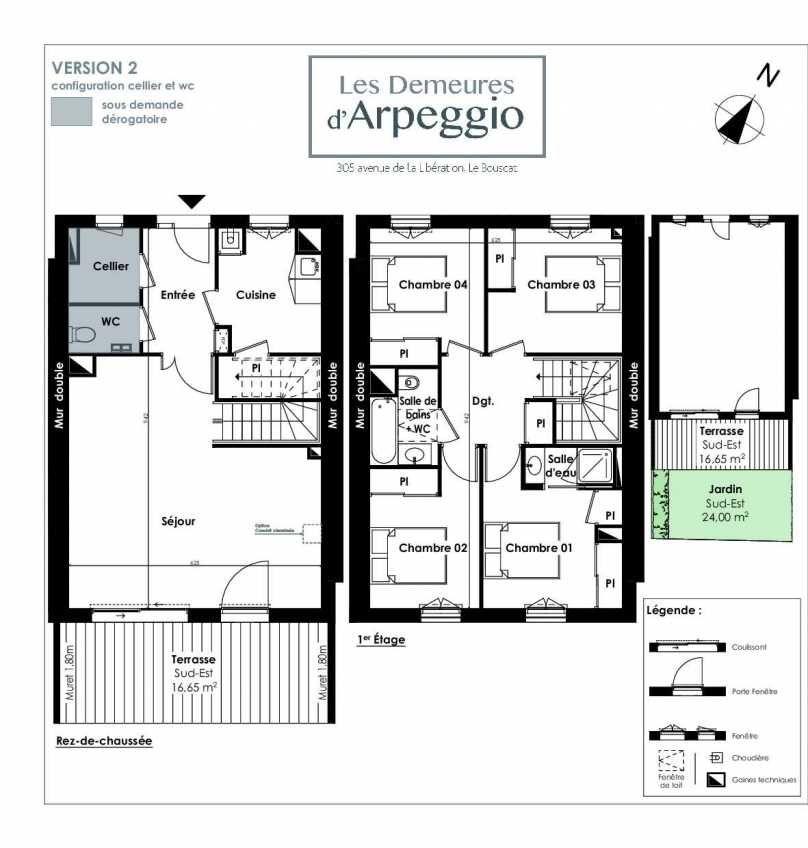 Plan 2, appartement neuf type T5 au Rez de chaussée, orienté Sud faisant 104m² du programme neuf LES DEMEURES D'ARPEGGIO à Le Bouscat.