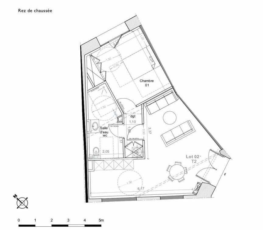Plan 2, appartement neuf type T2 au Rez de chaussée, faisant 52m² du programme neuf LES HAUTS DE MIRABEAU à Aix-en-Provence.